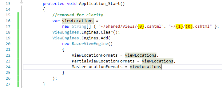 Set the new view paths in Application_Start to change view location in MVC