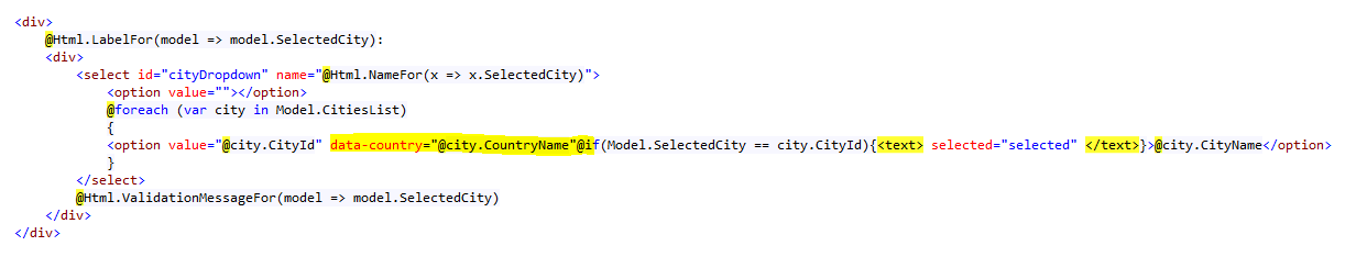 Adding data attributes to each option rendered by MVC