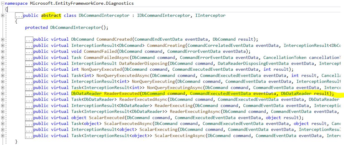 Entity framework core interceptors - DBCommandInterceptor