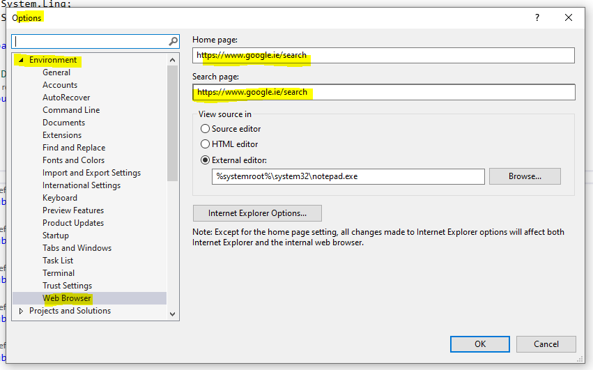 Visual Studio confgure internal browser