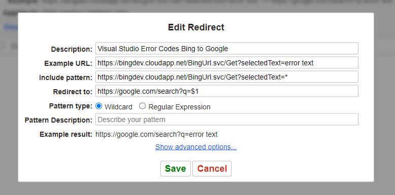 Redirector setup for bing to google redirect
