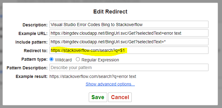 Redirect Visual Studio error links to Stackoverflow