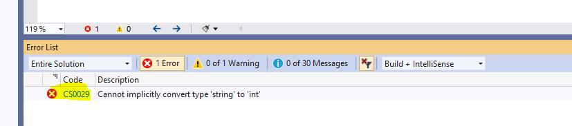Visual Studio Errors Window
