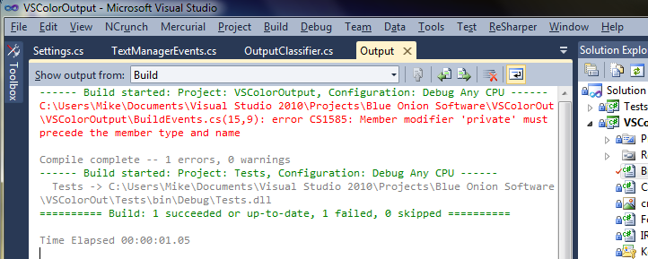 VsColorOutput - change colours in output and debug window