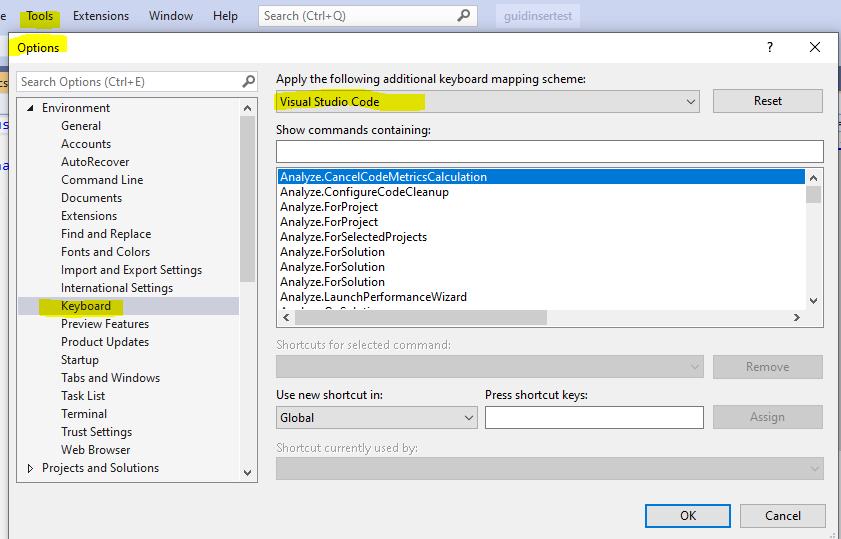 Visual Studio Code Keyboard shortcuts in Visual Studio