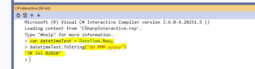 C# Interactive Window