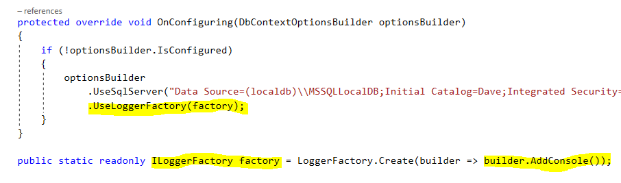 Output EF Core queries to the console