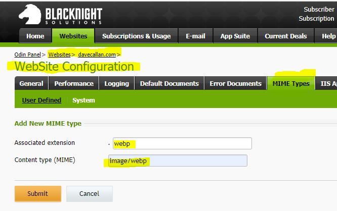 Adding WebP mime type on Blacknight