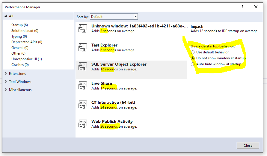 Viewing Visual Studio Performance Manager