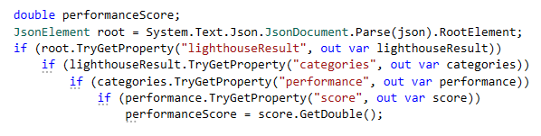 Use TryGetProperty to read JSON properties