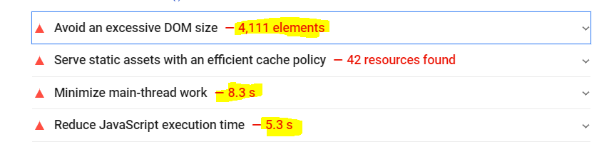 United large DOM and large JS execution time