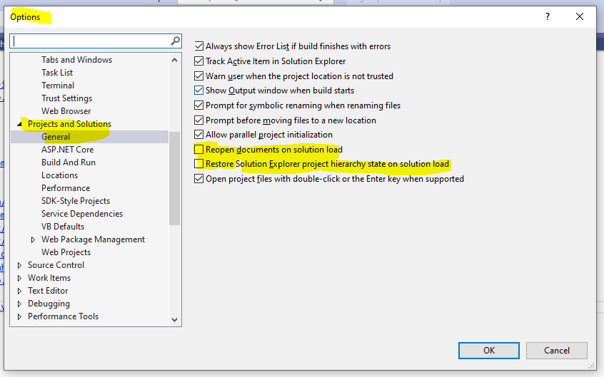 Visual Studio restore files and project hierarchy