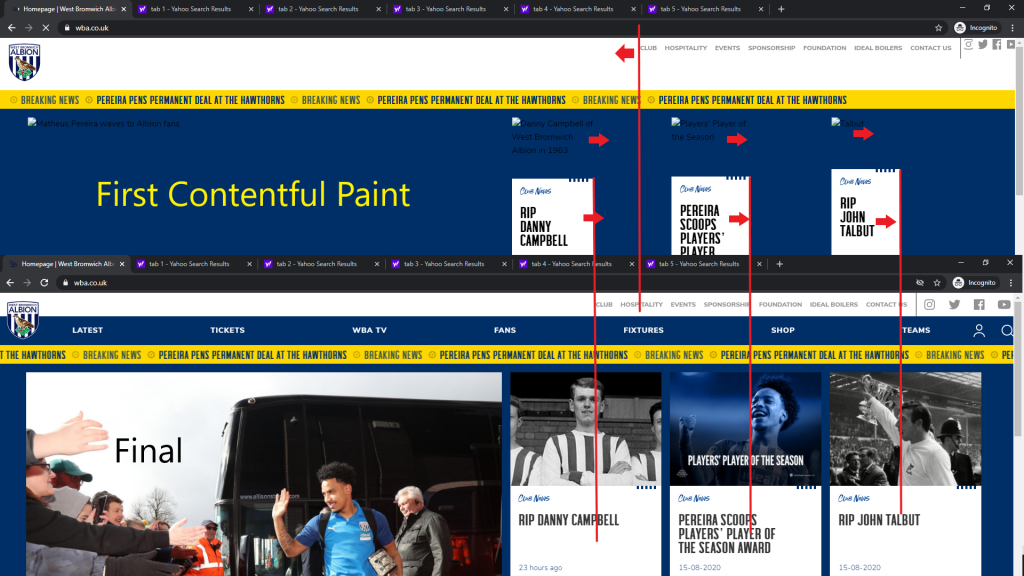 WBA homepage layout shift