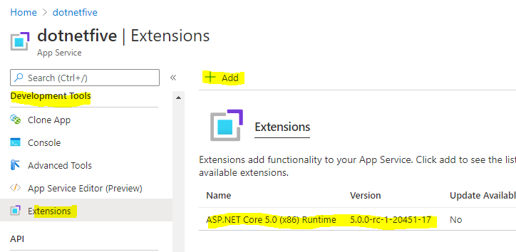 Using .Net 5 in Azure App Service