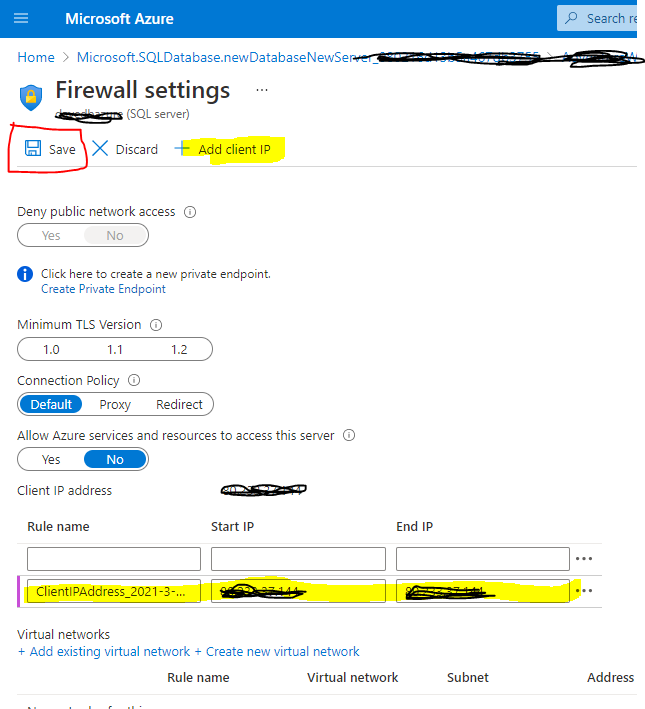 Add client IP in the firewall settings page