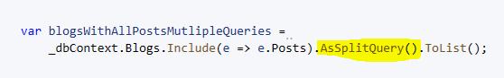 AsSplitQuery in EF Core 5.0