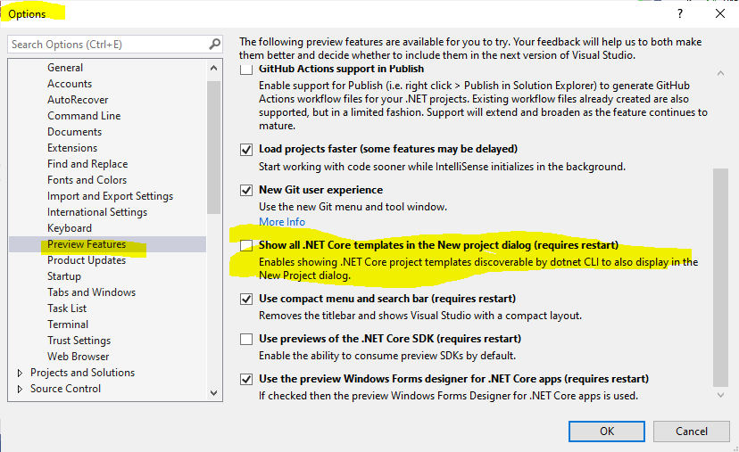 Select .NET 5 when creating a new project in Visual Studio