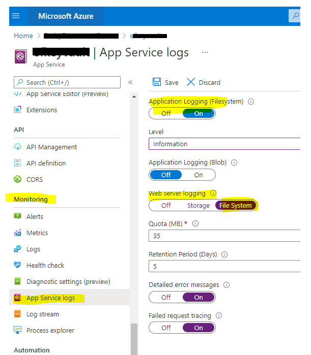 Enable logging for an Azure App Service