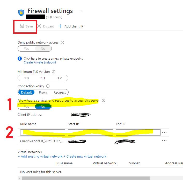 Firewall settings Azure SQL DB
