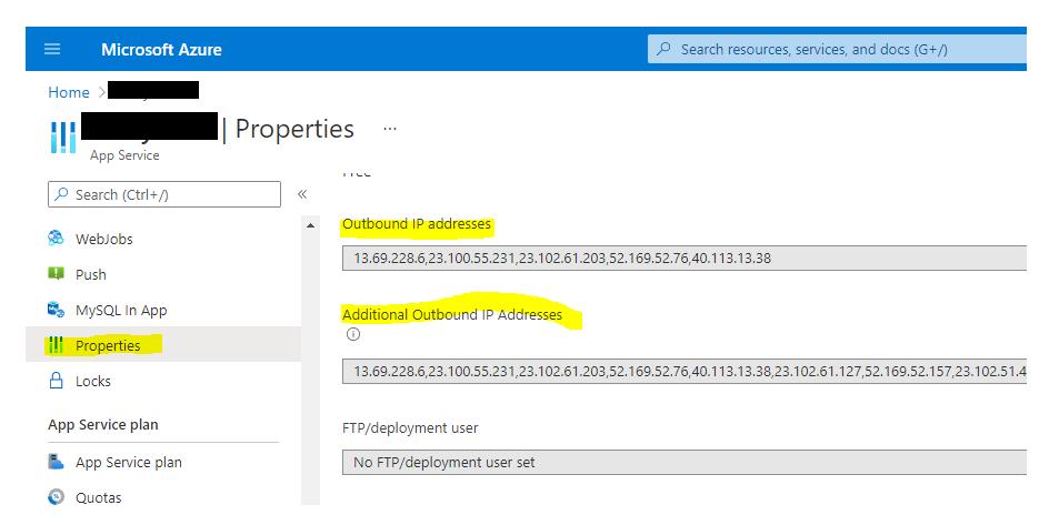 Azure App Service Outbound IP address