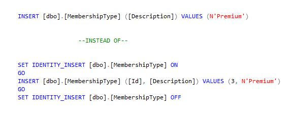 Insert into identity column