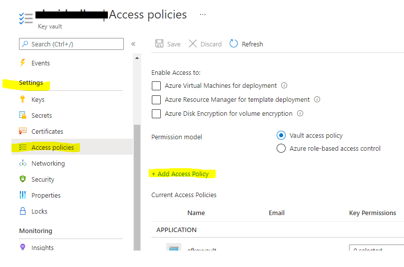 Key Vault Access Policies page