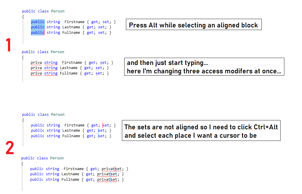Editing multiple lines at once in Visual Studio