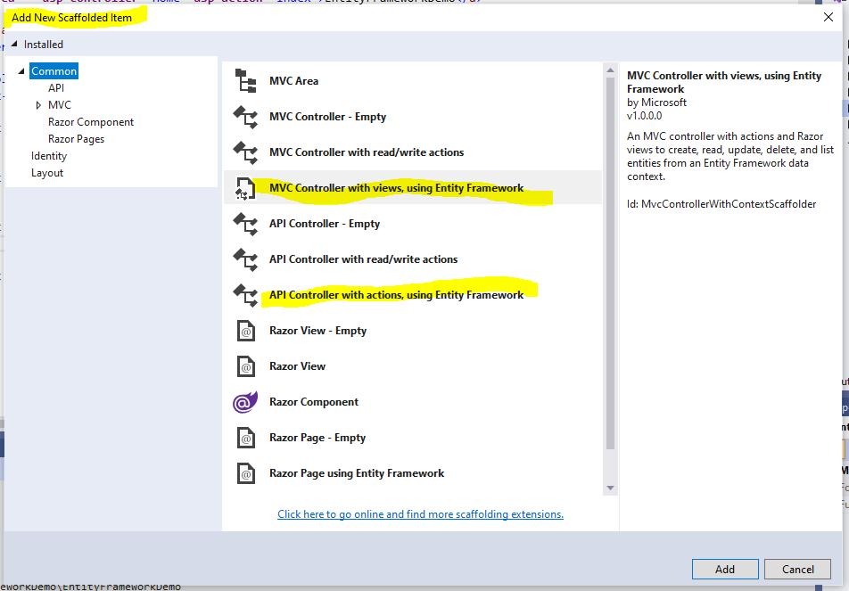 Scaffold a new controller in Visual Studio