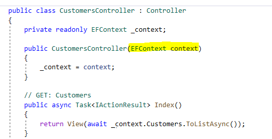 Dependency Injection in controller