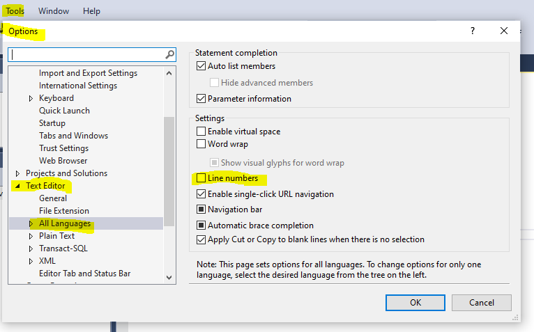 How to show line numbers in SQL Server Management Studio