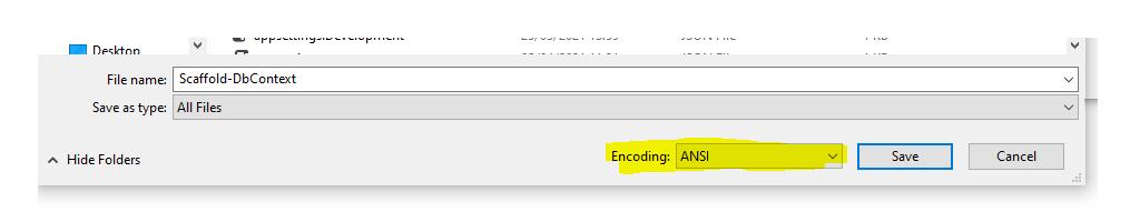 Save as ANSI encoding