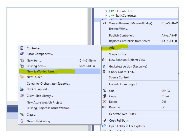 Scaffold a controller in Visual Studio
