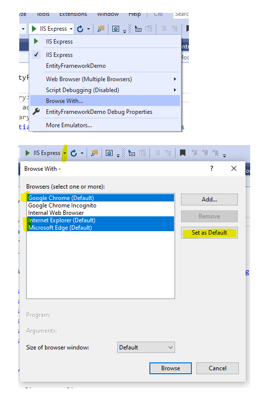 How to launch app in multiple browsers in Visual Studio