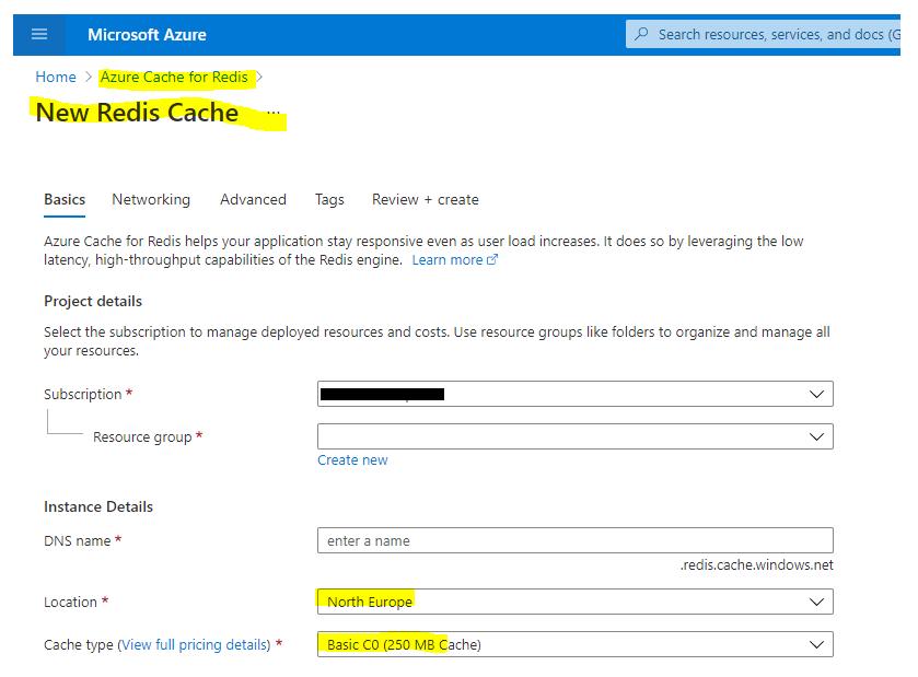 Create a new Redis cache in the portal