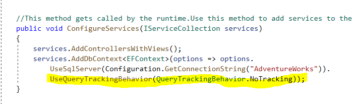 Setting query tracking behaviour globally