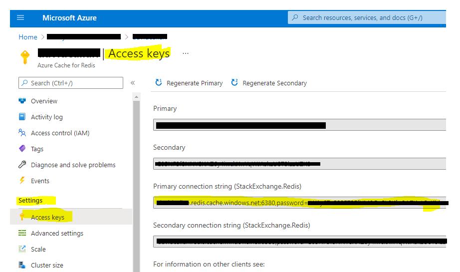 Viewing Azure Redis access keys