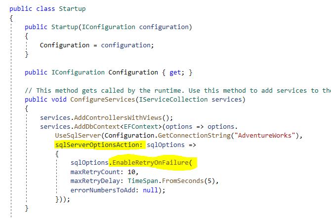 EnableRetryOnFailure setting for Entity Framework